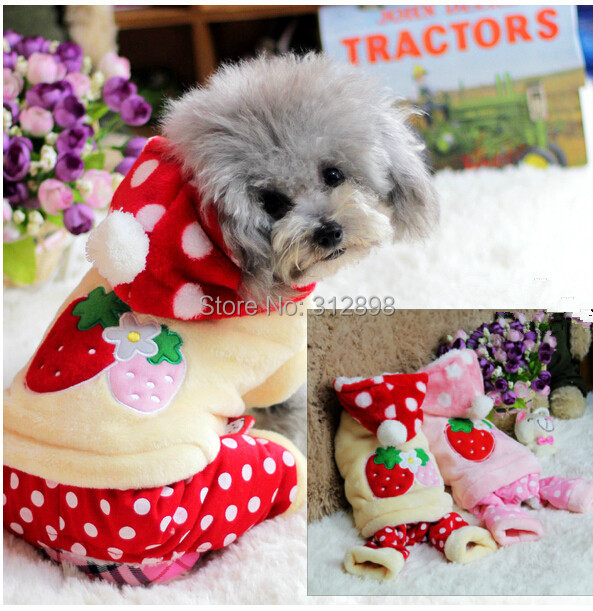 New Design Pet Clothes For Dog Puppy Strawberry Double Flannel Winter Brand Animal Cat Jumpsuits Supplies For Yorkshire Pitbull(China (Mainland))