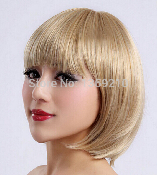 Hot Selling Fashion Womem's Heat Resistant Blonde Color Wigs Short Straight Capless Synthetic Hair Wig Daily Use Wig(China (Mainland))