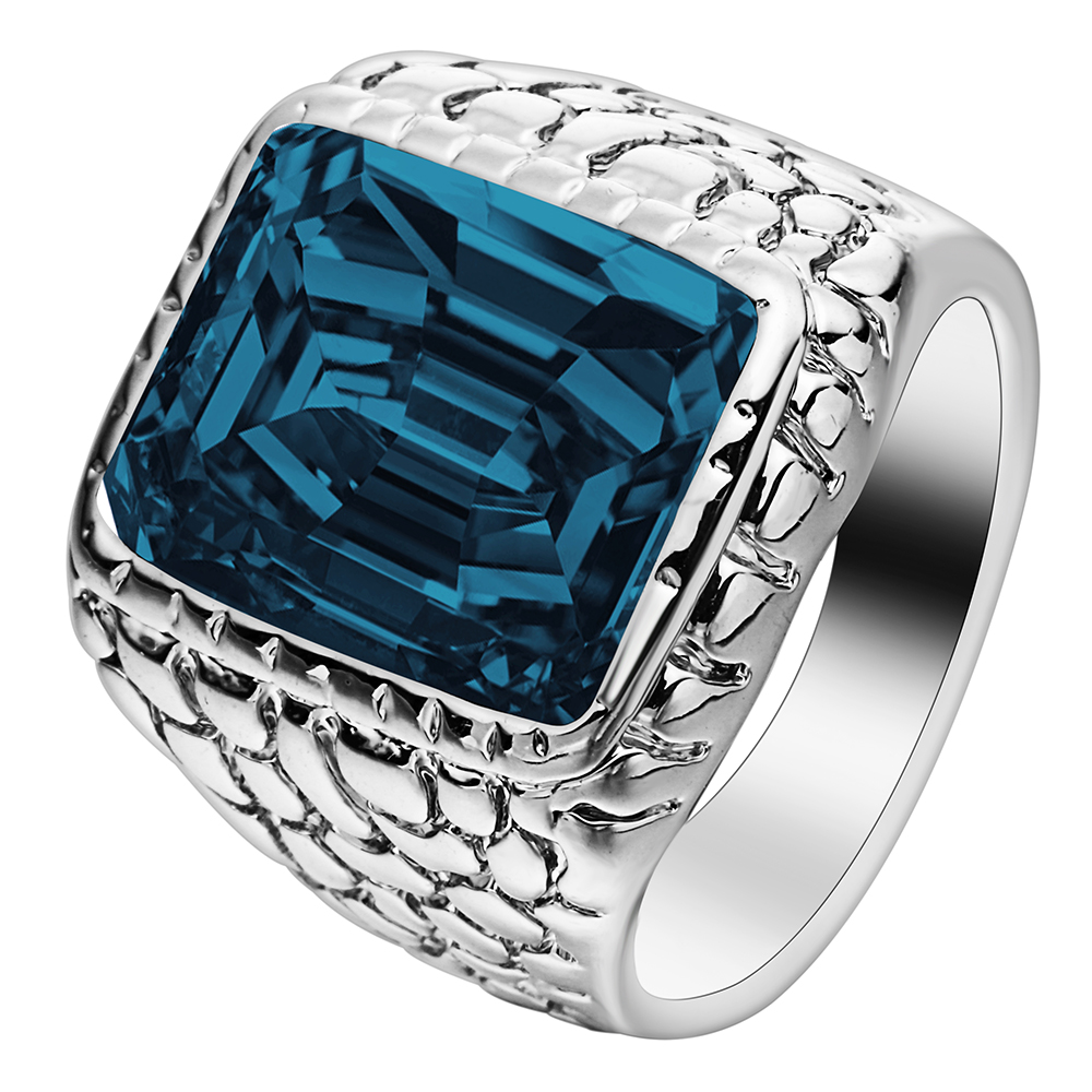 silver color large square crystal men ring jewelry for engagement cheap hot sale blue red black vintage wedding band for party - Mens Wedding Rings Cheap