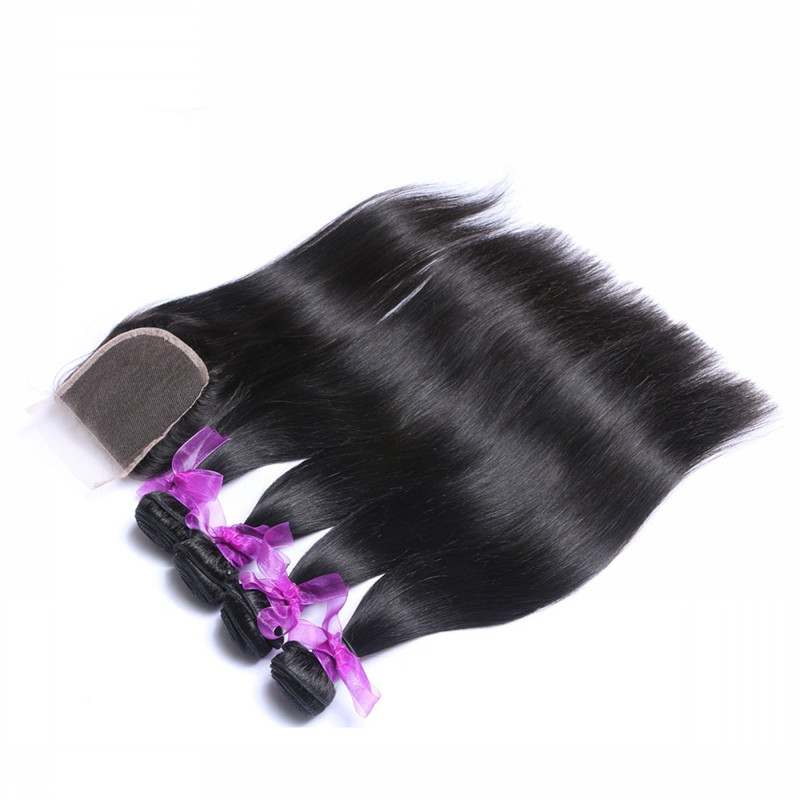 Peruvian virgin hair straight with closure 4 bundles with closure 7a Peruvian straight virgin hair with closure 100g bundles