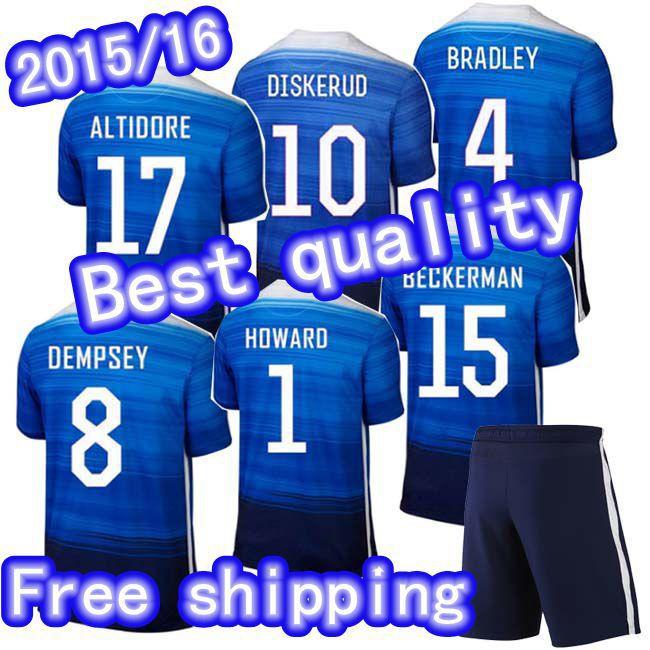 Best quality 2015 USA jersey soccer away 15 16 USA Blue Football Shirts Dempsey RODRIGUEZ DISKERUD BECKERMAN ALTIDORE HOWARD(China (Mainland))