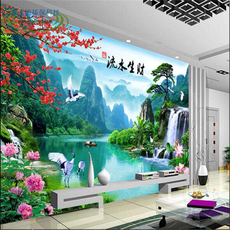 Free shipping  Chinese scenic water making a cornucopia of television background wall paper living room hall mural  Custom Size(China (Mainland))