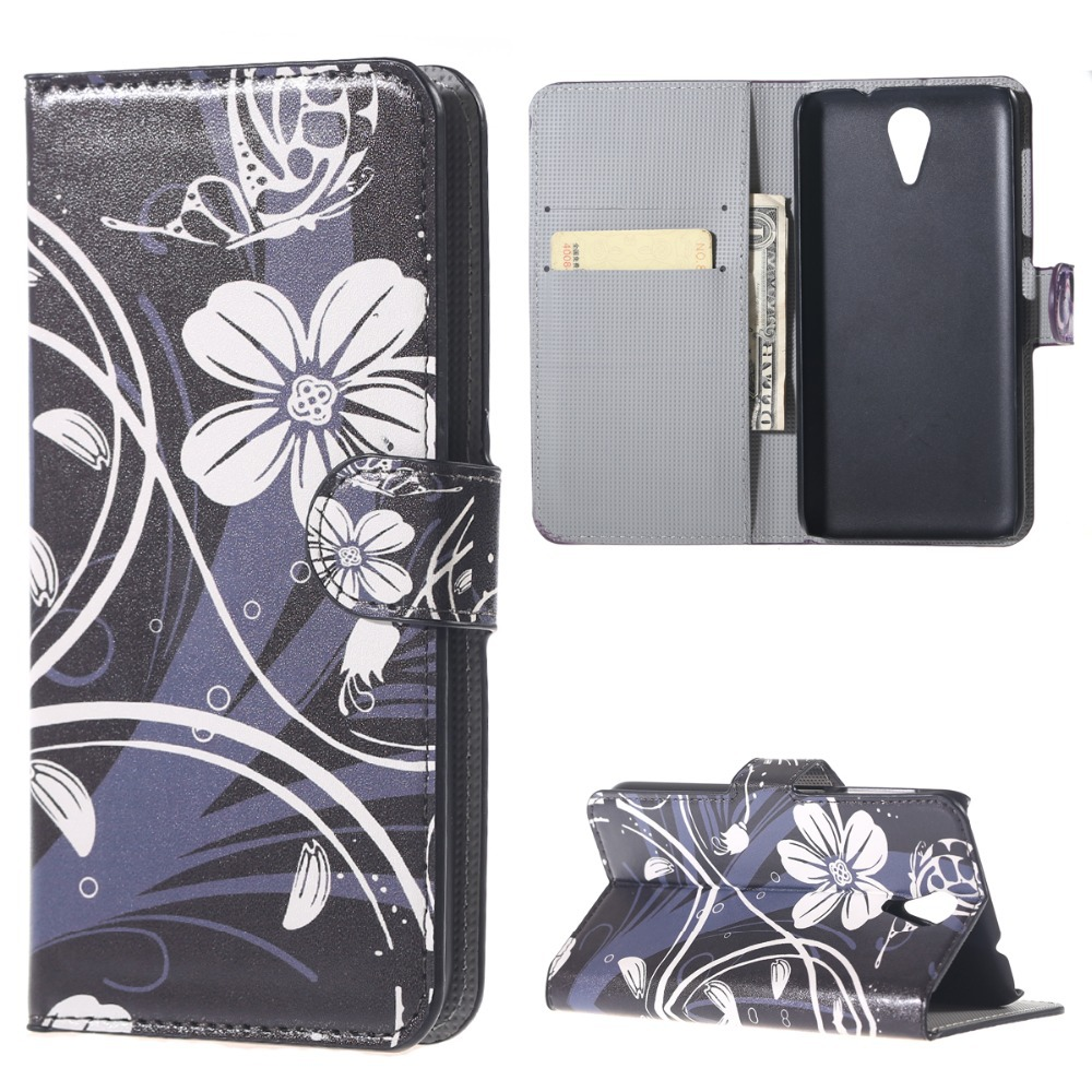 new for HTC Desire 620 620G case cover PU leather beautiful white orchid pattern flip wallet Skin card phone Protective shell(China (Mainland))