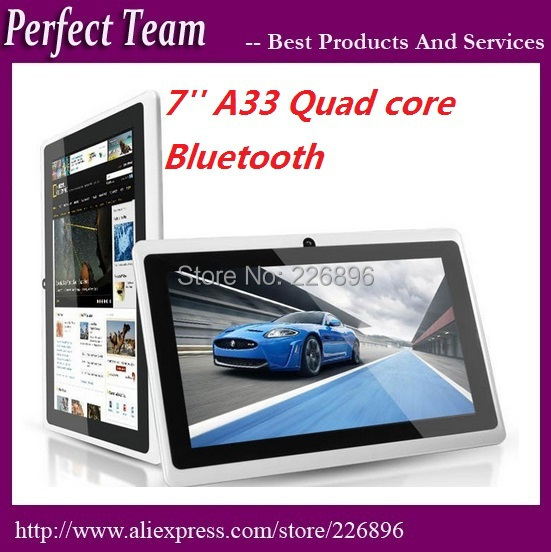 DHL Free shipping 10pcs/lot q88 7 inch A33 android 4.4.2 quad core dual camera bluetooth 512M/4GB Capacitive tablet pc(China (Mainland))