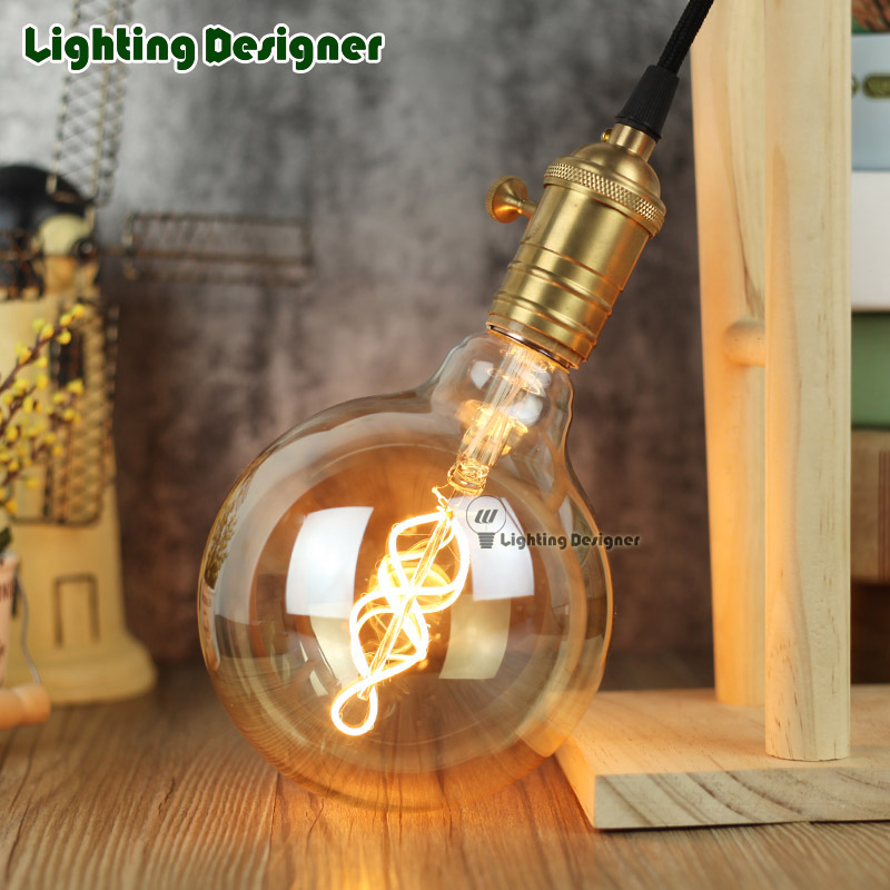 G125 led edison bulb spiral dimmable light amber retro saving lamp vintage filament bubble ball bulb E27 led light 4W 110V 220V