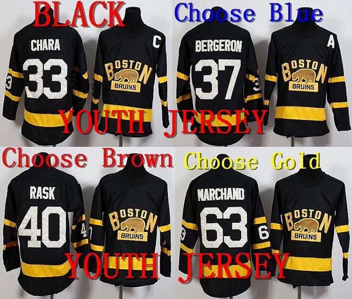 2016 New Youth Boston Bruins Kids Winter Classic Jersey 33 Zdeno Chara 37 Patrice Bergeron 40 Tuukka Rask 63 Brad Marchand