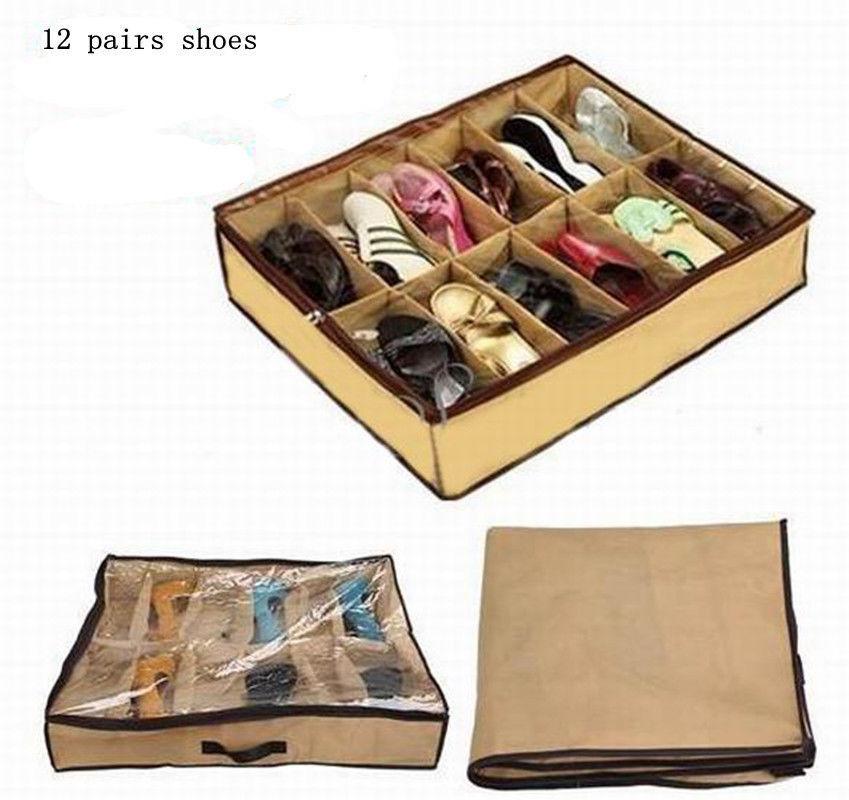 12 Pair Shoes Storage Organizer Holder Shoe Organizer Bag Box Under Bed Closet(China (Mainland))