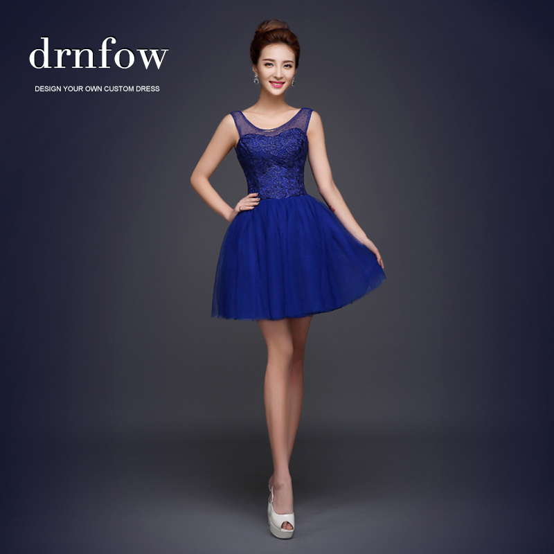 Cheap short 2015 royal blue bridesmaid dresses under 50 for Royal blue short wedding dresses