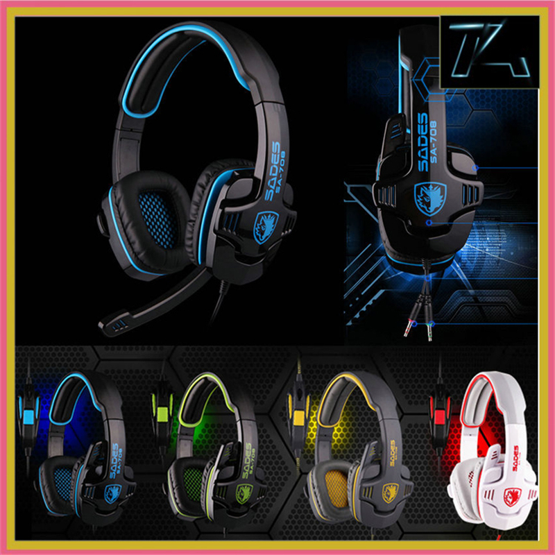 SADES SA-708 Gaming Headset Stereo Headphones Earphones with Microphone for Computer Laptop Skype Mobile Phone High Quality(China (Mainland))