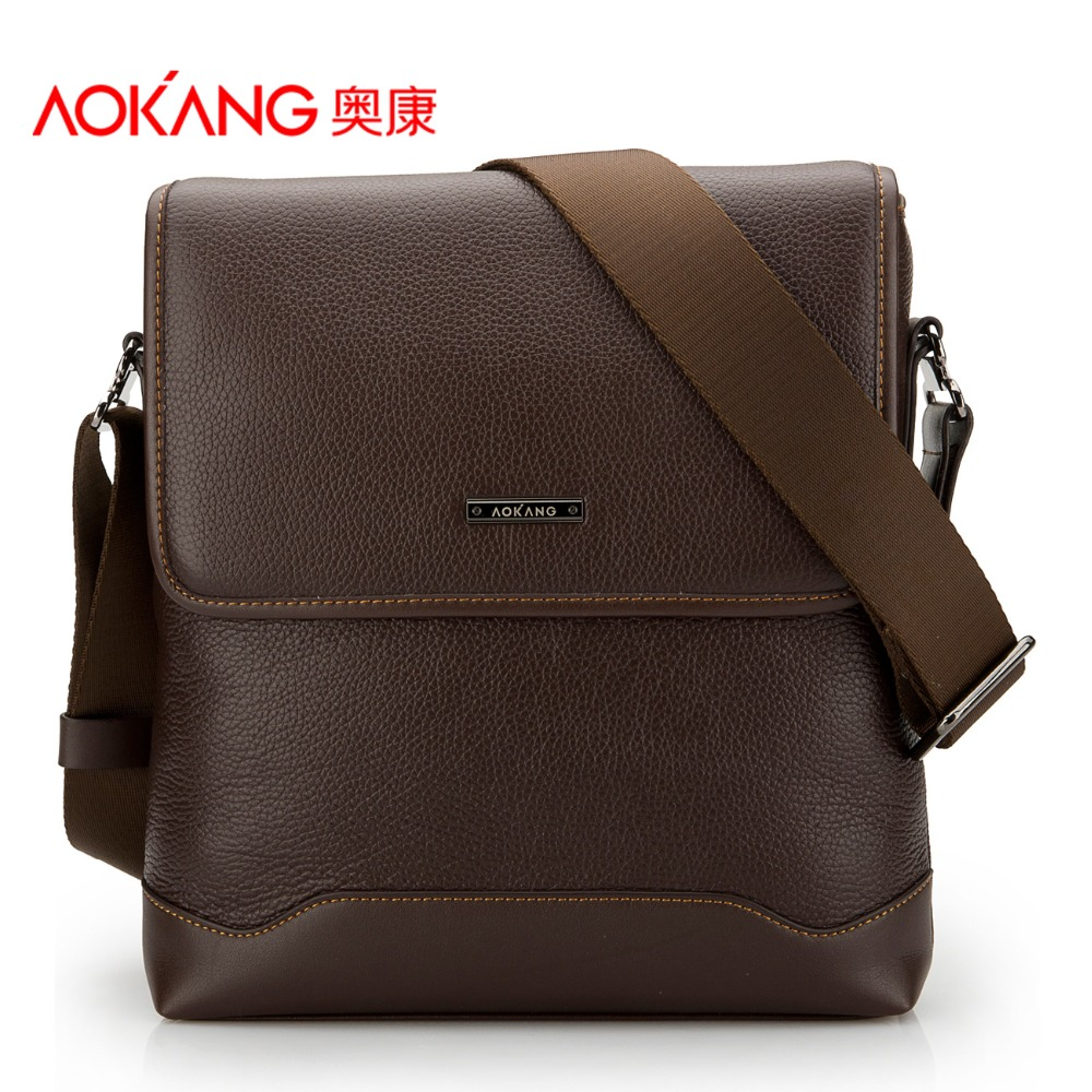 Aokang Top Quality Genuine Leather Men's Shoulder Bags 2 colors Black/Brown(China (Mainland))