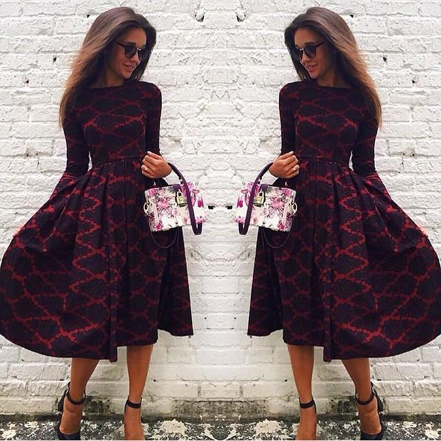 fashion 2015 hot sale cosy vestido boho o neck long sleeve plaid loose kawaii warm fall