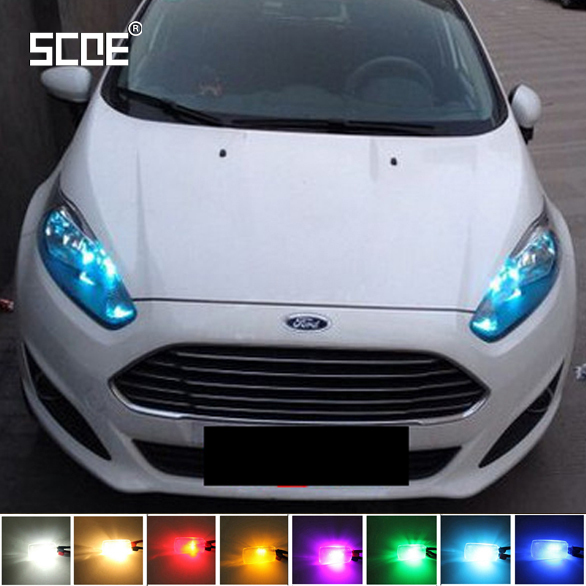 SCOE Car Styling T10 2x27SMD LED Clearance Light Lamp Bulb Source For Ford Fiesta Crystal Blue Warm White Red Yellow Green(China (Mainland))