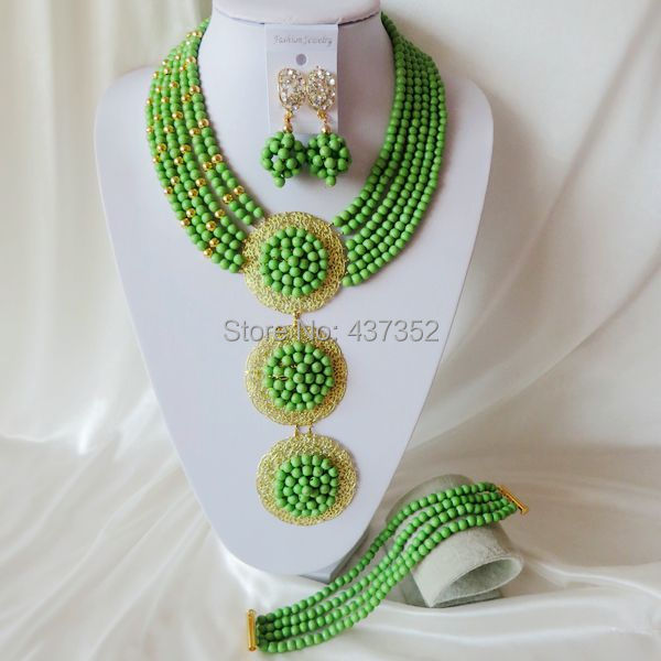 Fashion Green Turquoise Nigerian Beads Necklaces Bracelet Earrings African Wedding Beads Jewelry Set TJS-003<br><br>Aliexpress
