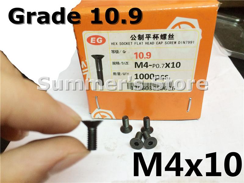 DIN7991 Hex Socket Flat Head Cap Screw M4*10mm Grade10.9 M4x10 screw 50 - Summer's Hardware Store store