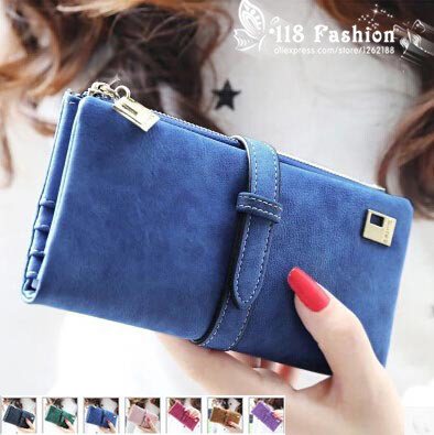 2015 New Fashion Women Wallet Matte Leather 7 Colors Clutch Wallets Ladies Long Clutches Two Fold Coin Purse Card & ID Holder(China (Mainland))
