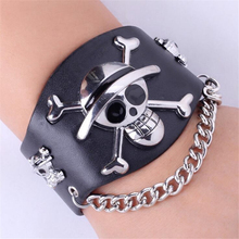 (2 pieces/lot) 2015 Top Quality One Piece Skull Bracelet Wide Leather Punk Bracelets & bangles Cartoon Shamballa Bracelet