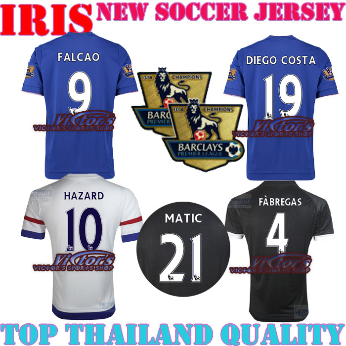 FALCAO 9 Chelsea 2016 Jersey soccer C10 HOME AWAY 15 16 Chelsea Jerseys third 3rd away black DIEGO COSTA FABREAGS shirt(China (Mainland))