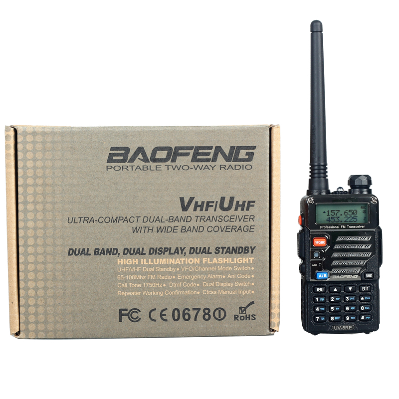 Baofeng UV-5RE Walkie Talkie Dual Band Two Way Radio Pofung UV 5RE 5W 128CH UHF VHF FM VOX Dual Display radio comunicador(China (Mainland))