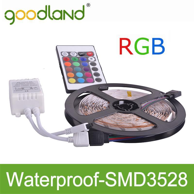 Goodland Brand LED Strip Light RGB Waterproof IP65 5meter SMD3528 DC12V With IR Remote Controller High Luminous Lampada Luz(China (Mainland))
