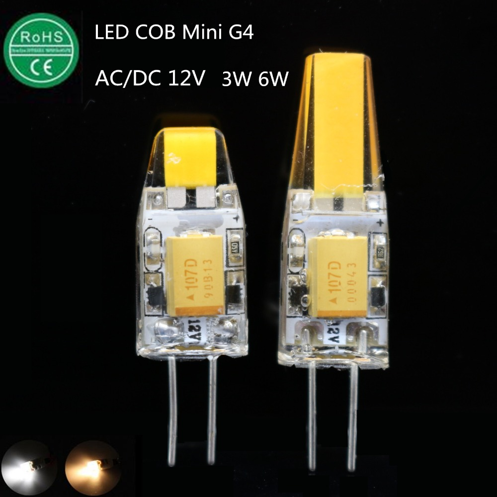 new High quality AC/DC 12V G4 LED 3W 6W NEW COB Corn Light SMD bulb Super bright Replace Halogen Lamp Led Light candle spotlght(China (Mainland))