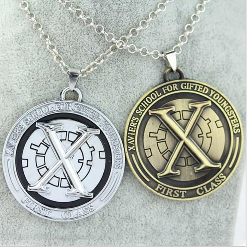Movie jewelry superman super hero X Men necklace x men Logo Metal round coin pendant necklace