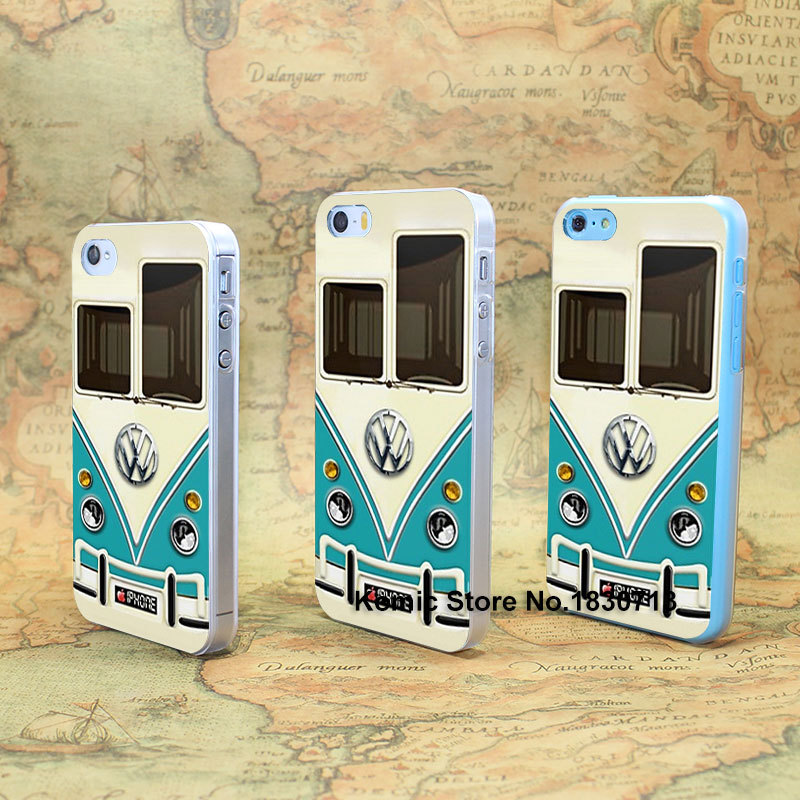 Funny Volkswagen Bus Durable Design hard transparent clear Skin Cover Case for iPhone 4 4s 4g 5 5s 5g 5c(China (Mainland))