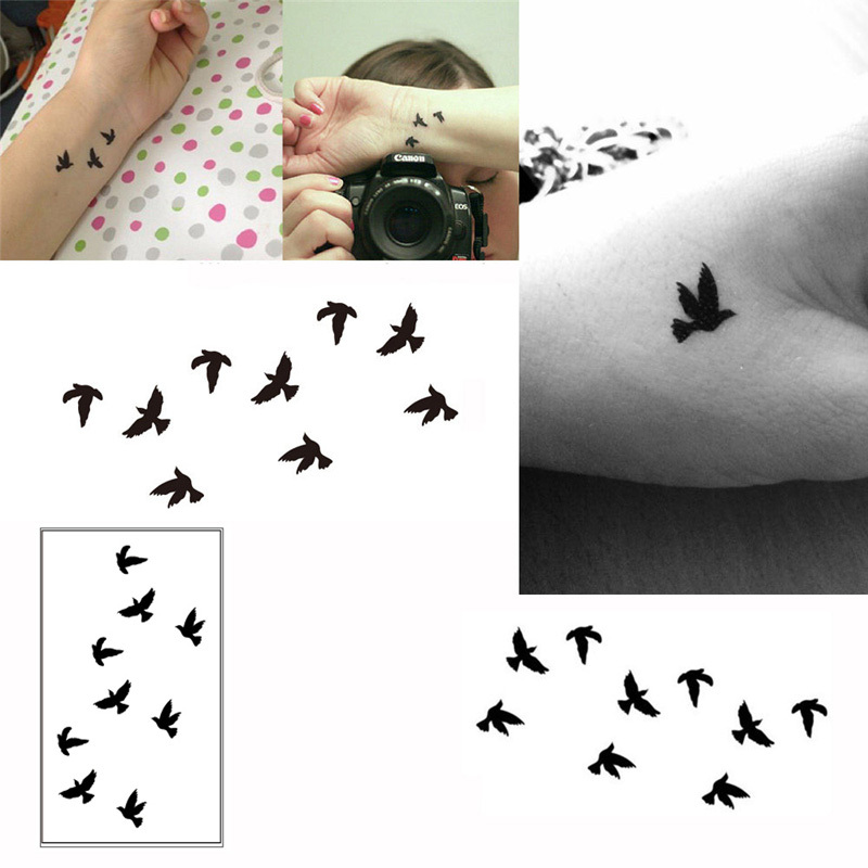 10cm Wrist Flash Tattoo Fake Tatto Birds Design Waterproof Temporary Tattoo Sticker For Body Art Women Flesh Tatoos 2016 WTA0001(China (Mainland))