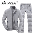 High Quality Fashion Spring Autumn Casual Slim Youths Mens Tracksuit Set Solid Outwear Suit Stand Collar
