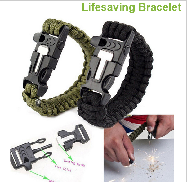 Outdoor Camping Hiking Sport Survival Bracelet Paracord Cord Wristbands Emergency Rope Gear Whistle Flint Fire Starter Scraper(China (Mainland))