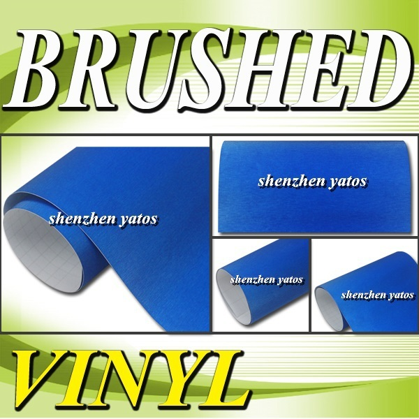 Blue metallic Brushed car wrap sheet With Air bubbles 1.52x30M