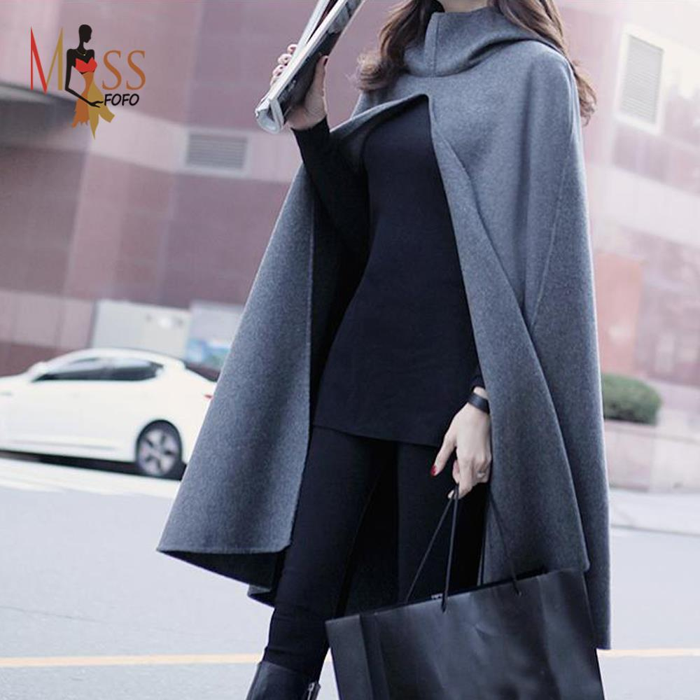 2015 Atumn/winter fashion Whimsical women's wool blend cape hooded trench coat casual cloak long outerwear for lady(China (Mainland))