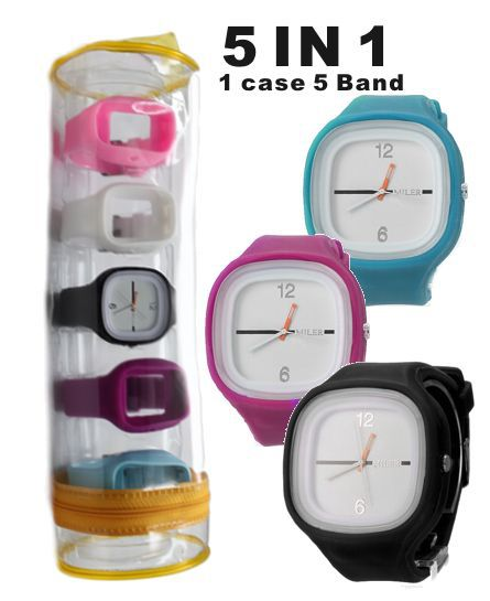 5 Band IN 1 Watch Nice Easy Dress Black, White, Pink, Blue, Purple Silicone Band @1PCS.Five Band Set Watch Fashion Watch FW716A(China (Mainland))