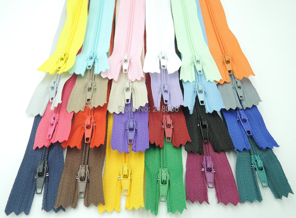 100 pcs Mix Color Nylon Coil Zippers Tailor Sewing Tools Garment Accessories 9 Inch