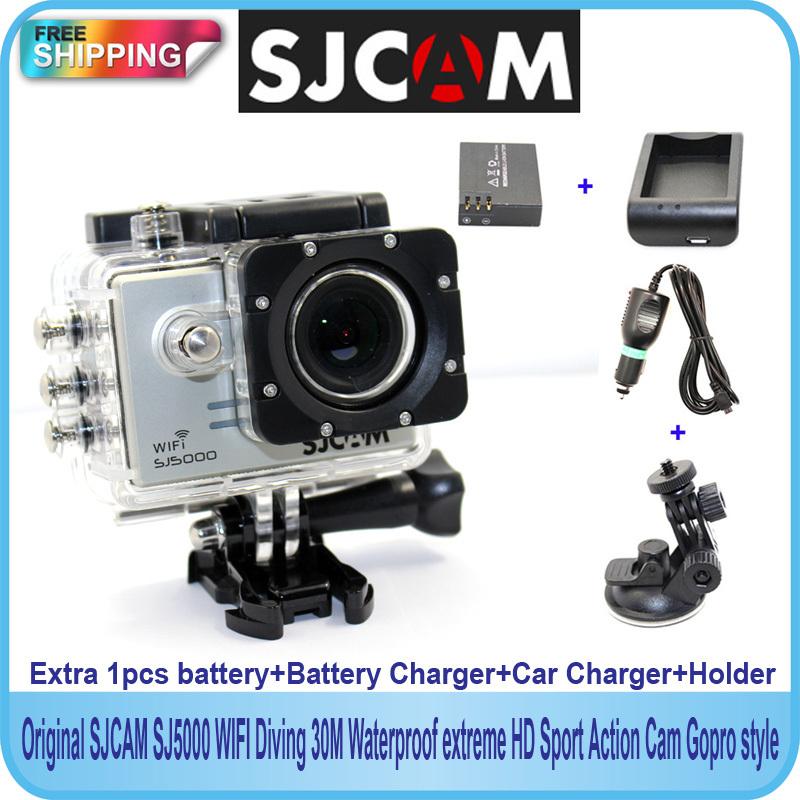 Free shipping!Original SJCAM SJ5000 WiFi Sport Action Camera+Extra 1pcs battery+Battery Charger+Car Charger+Holder for DV camera(China (Mainland))