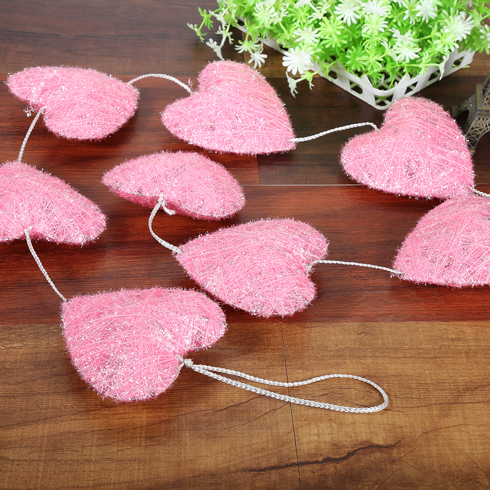 Metal heart ornaments - Hot New Heart Shape Xmas Tree Baubles Heart Shaped Garden Ornaments Pink Love Decoration Crafts