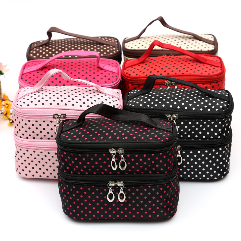 New Double Layer Cosmetic Make Up Bags Cute Dots Multifunctional Storage Bags Package(China (Mainland))