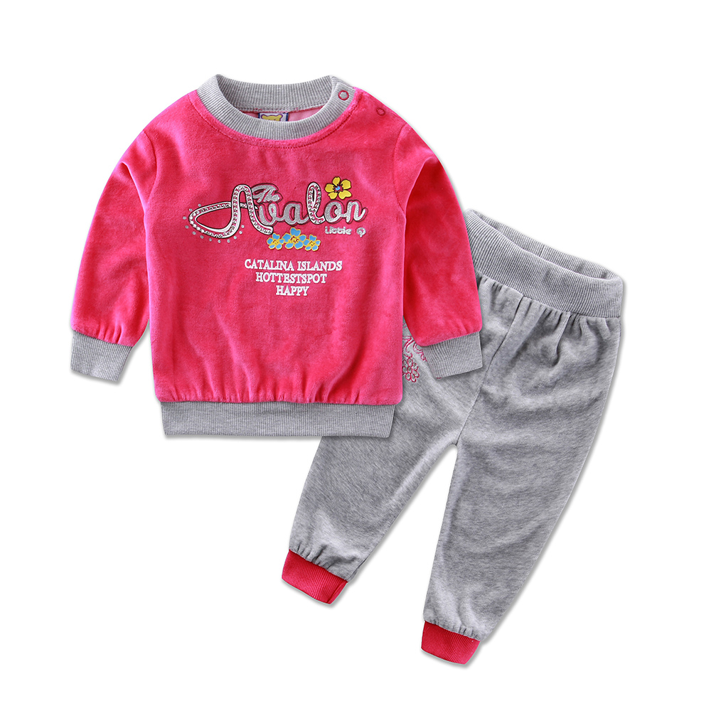 2016 Little Q Spring Long Sleeve Embroidery Velour Pullover Blouse Pants Clothing Set fashion girls baby clothes outfits(China (Mainland))