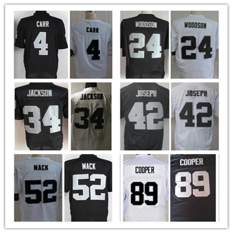 Men's 4 Derek Carr 24 Charles Woodson 34 Bo Jackson 42 Karl Joseph 52 Khalil Mack 89 Amari Cooper elite jersey,Black,White(China (Mainland))