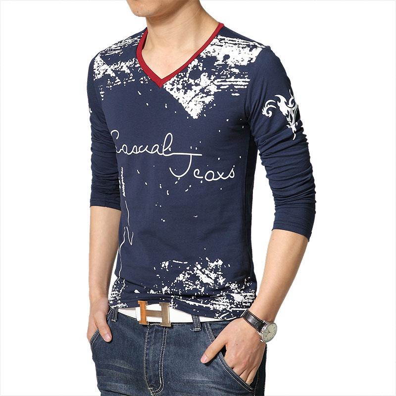 2016 New spring autumn fashion letter print graffiti v neck long sleeve t shirt men Casual slim t-shirt men Plus size 5XL(China (Mainland))