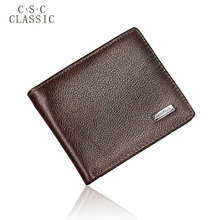 Buy CLASSIC 2016 New Brand Mens Gentleman Dark Brown Real Genuine Cowhide Leather Bifold Wallet Small Purse ID Credit Card Holder for $4.89 in AliExpress store