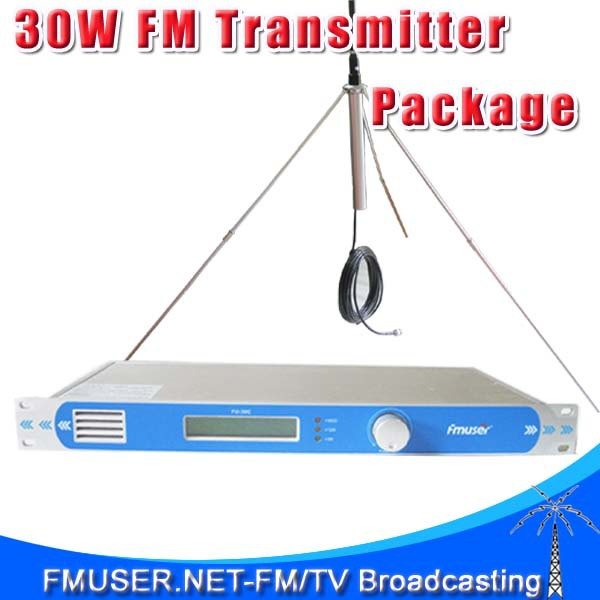 FMUSER FU-30C FMT-30L 30W FM Radio Broadcasting Transmitter + 1/4 Wave GP Antenna+8 meter RG58 Cable(China (Mainland))