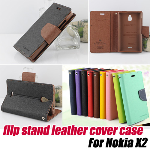 10pcs/lot.hit color Leather Wallet Card Holder Flip Case Cover stand for Nokia x2,free shipping