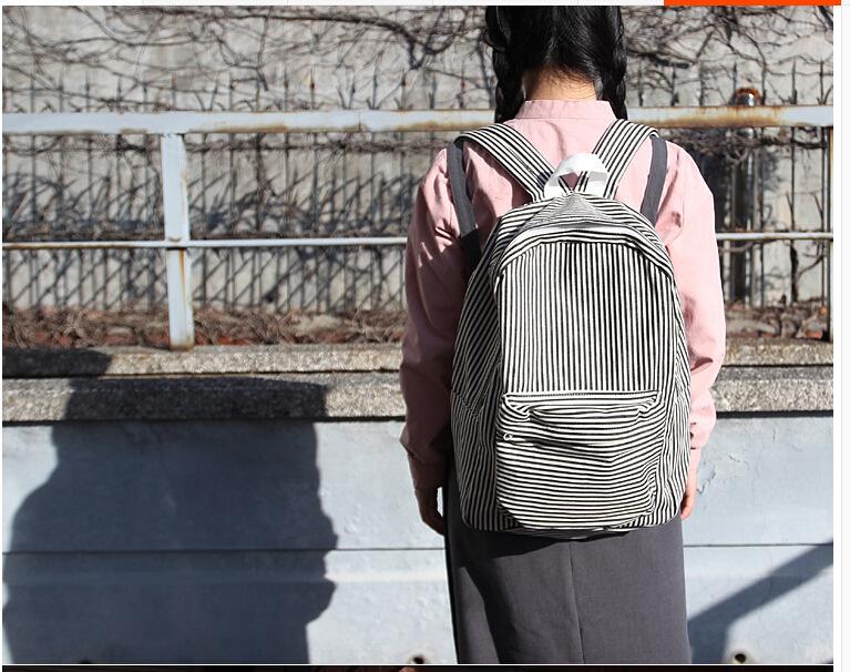 2016 ulzzange harajuku style vintage teenager girls bag classic stripe canvas school bag black and white