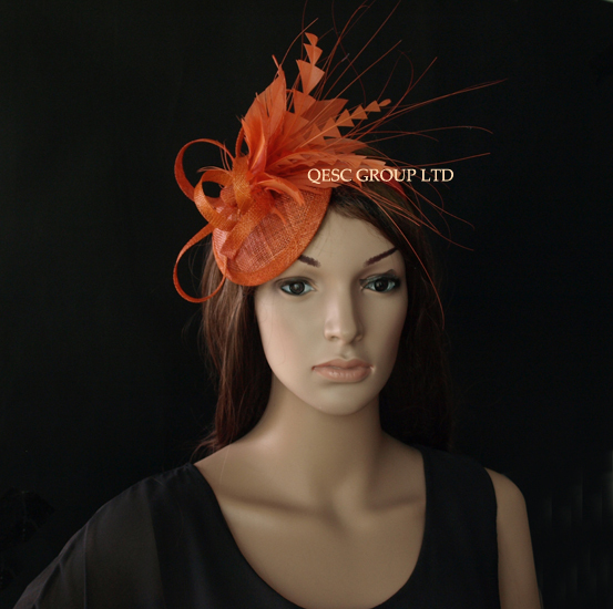 Rust brown sinamay feather fascinator .(China (Mainland))