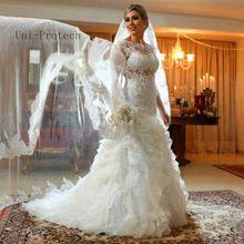 2016 Elegant Sexy Vestidos De Novia Women Dress Wedding Plus Size Wedding Dresses with Three Quarter Sleeves Robe De Mariage(China (Mainland))