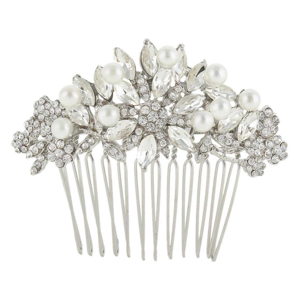 BELLA Simulated Pearls Small Bridal Hair Comb Hair Piece Floral Wedding Accessories Austrian Crystal Bridesmaid Headpiece(China (Mainland))