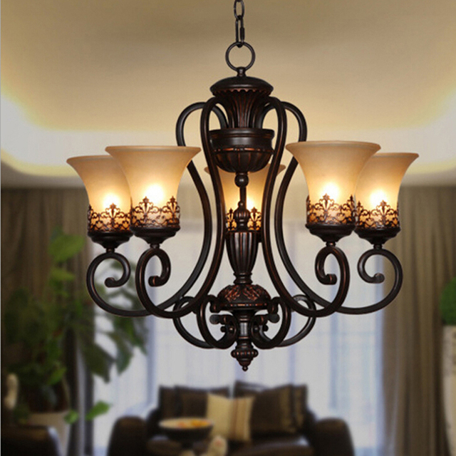 free shipping vintage chandeliers 3 or 5 lights black painting resin metal chandelier light for living black chandelier lighting photo 5