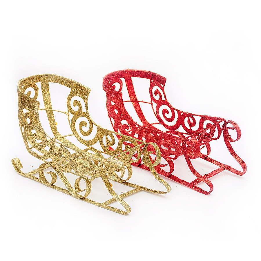 2 Colors NEW Round VINTAGE RED Golden METAL SLEIGH WITH ...