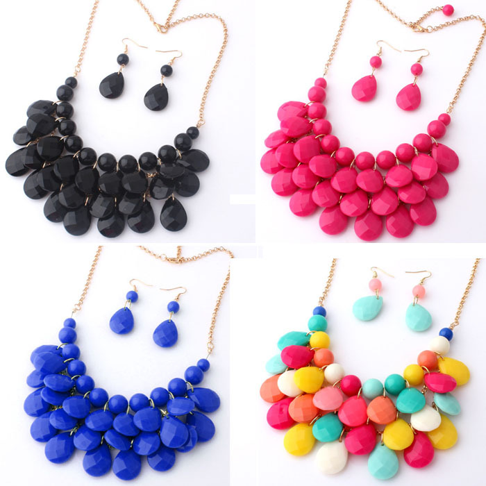 Top Selling 2015Fashoin Gold Spring Summer Teardrop Multilayer Necklace Water Drop Choker Necklaces Pendants Beads Earrings Sets(China (Mainland))
