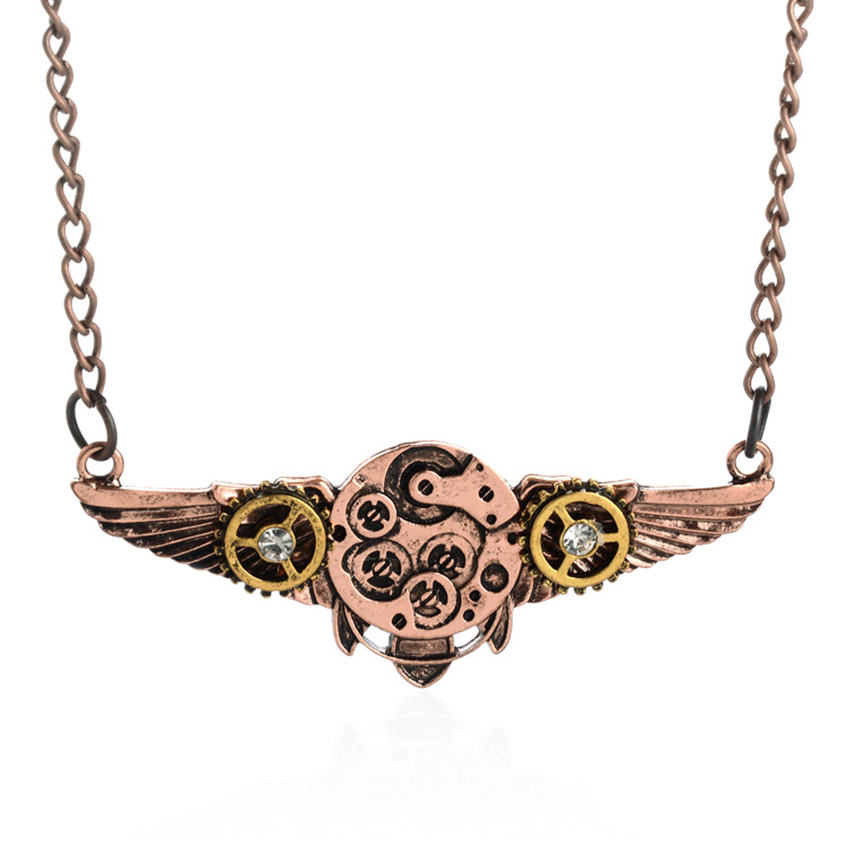 2015 Steampunk Style Vintage Angel wings Machinery Pendant Necklace Mysterious Necklace Punk Summer Cloth Jewelry Best Gift(China (Mainland))